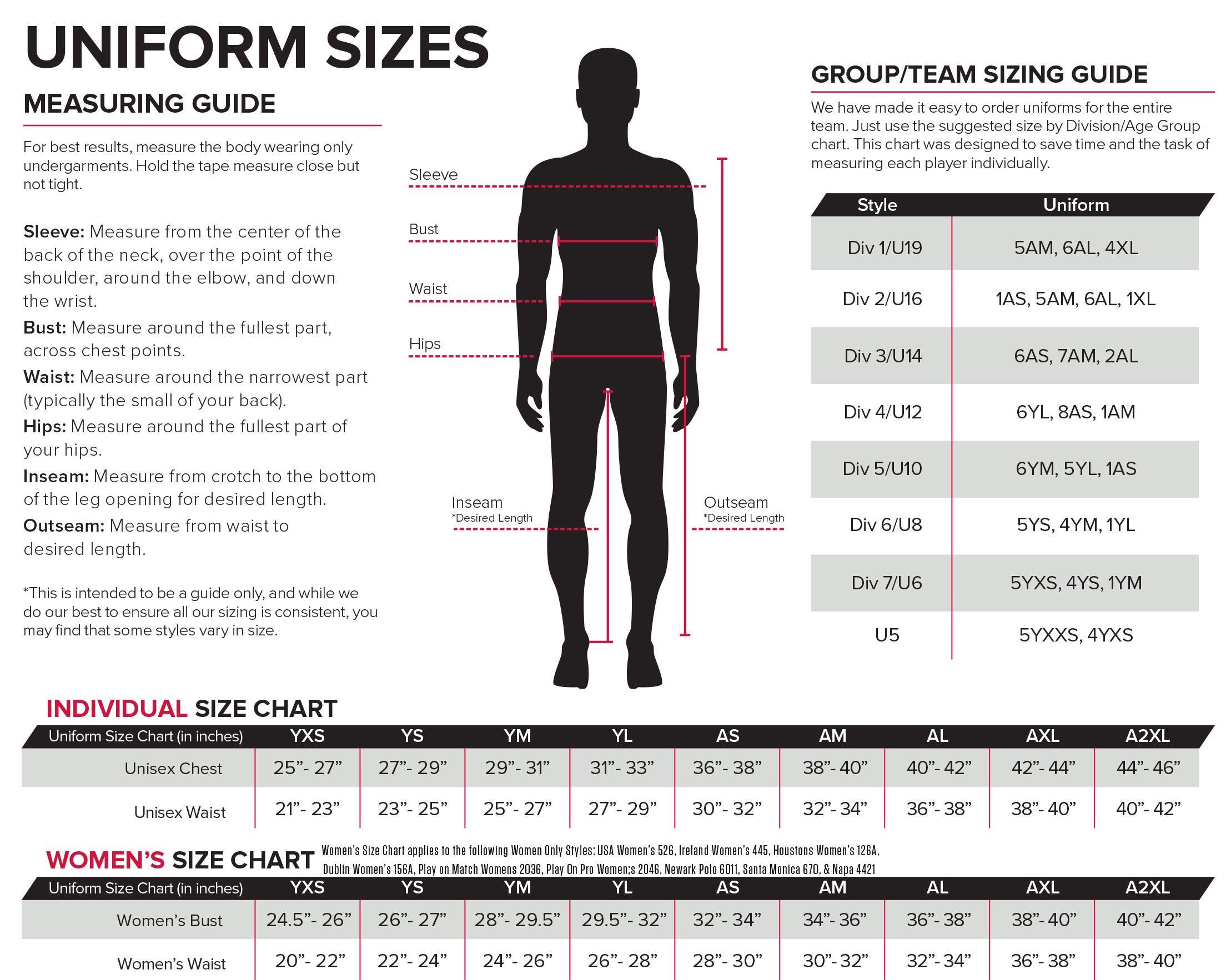 Uniform Sizing Score Sports